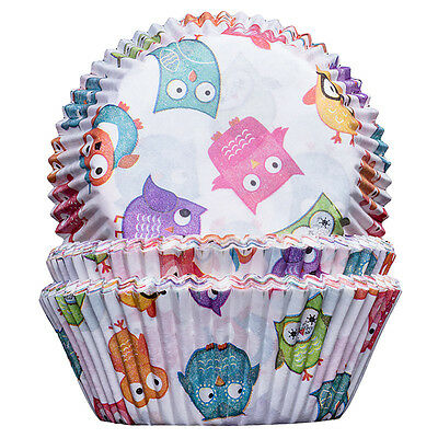 Owls Cupcake Cases 50x32mm x100 Baking Cups Muffin