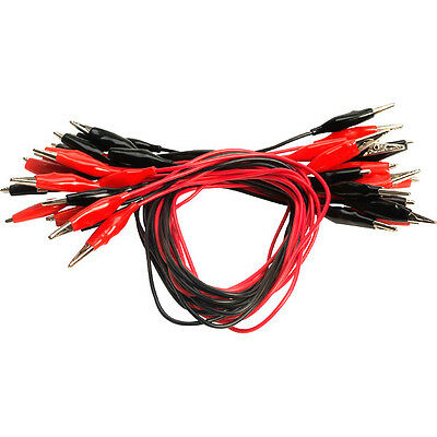 CROCODILE CLIPS RED/BLACK WIRED 46cm     (Stk 903B)