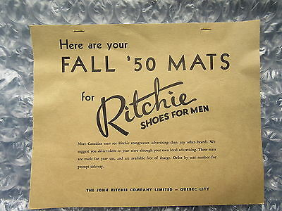 Old Fall 1950 Ritchie Shoes for Men Advertising Mats Booklet