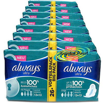8x 26 Always Ultra Normal Sanitary Towels Pads With Wings