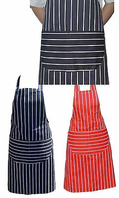 Striped Butchers Chef Cooking Kitchen Catering Apron Bib With Twin Pocket Baking