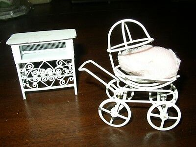 Adorable, 2-pc Metal Doll's Stroller- Dressing Table