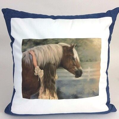 Horse & Girl First Love Custom Handmade Portrait Denim Throw Pillow Harrison
