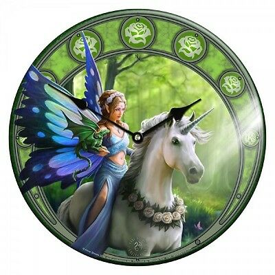 "Realm Of Enchantment   Unicorn & Fairy  Wall Clock  13 1/4""  - New"