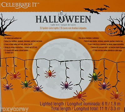 Halloween 35 Spider Cicle Lights Indoor Outdoor Lighted Length 6 ft Black Wire