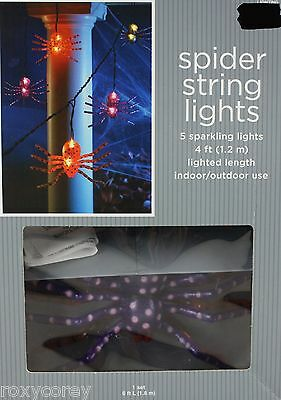 Halloween 5 Sparkling Spider String lights Black Wire Lighted Length 4 ft NIB