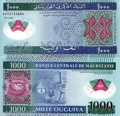 MAURITANIA 1000 Ouguiya Banknote World Polymer Money Currency Pick 19 2014 Bill