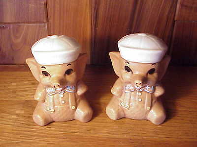 Adorable Vintage Large Pottery Baby Sailor Elephant Range Size Salt & Pepper Set