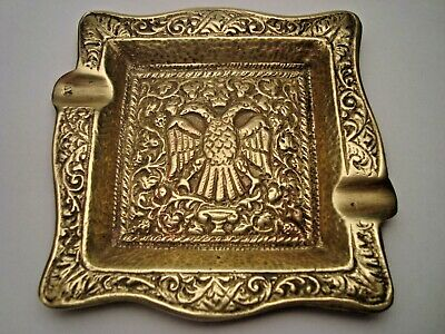 Greece antique solid brass ashtray with Byzantine double headed eagle #7