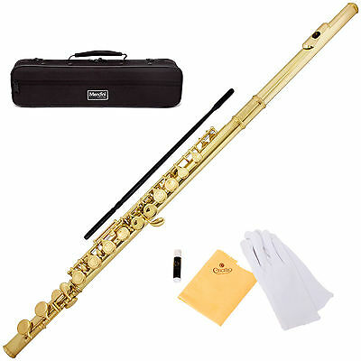 MENDINI GOLD LACQUERED C FLUTE 16 KEY w/Split E CLOSED HOLE -MFE-L