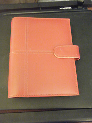 DayTracker Red Faux Leather Organizer Agenda Planner