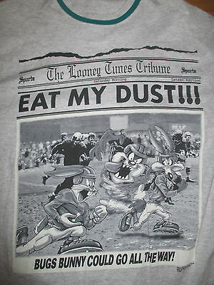 """'94 Warner Bros TAZ """"Eat My Dust"""" BUGS BUNNY """"Could Go All The Way"""" (LG) T-Shirt"""