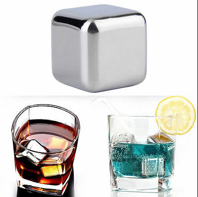 8Pcs Stainless Steel Reusable Ice Cubes Drink Chillers Whiskey Stones w/ Tongs