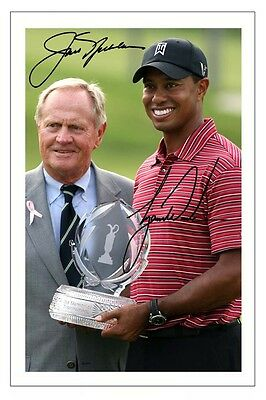 Tiger Woods & Jack Nicklaus Golf Signed Autograph Photo Print