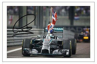 Lewis Hamilton 2014 World Champion Mercedes F1 Signed Photo Print Formula One