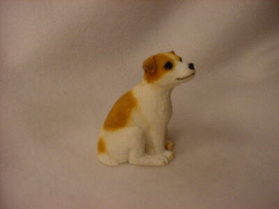 JACK RUSSELL smooth dog TiNY FIGURINE brown white puppy HAND PAINTED MINIATURE