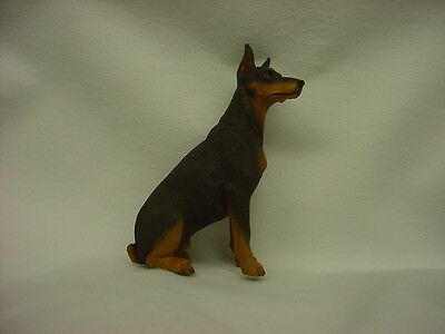 DOBERMAN PINSCHER FIGURINE dog HAND PAINTED resin statue red brown puppy CROPPED