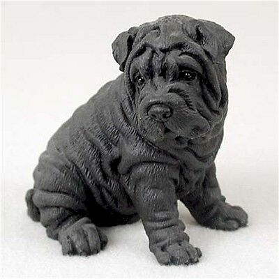 Realistic Hand Painted Black Shar Pei Crafted in Cold Cast Resin Figurine