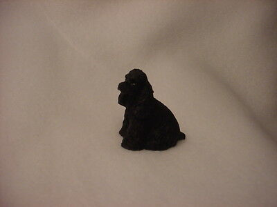 COCKER SPANIEL black puppy TiNY DOG Figurine HAND PAINTED MINIATURE Mini Statue