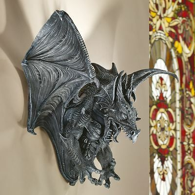 Gothic Raging Spiked Winged Dragon Medieval Wall Sculpture