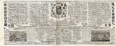 Large Antique Print-GENEALOGY-ROYAL-BRUNSWICK-LUNEBOURG-HANOVER-Chatelain-1732