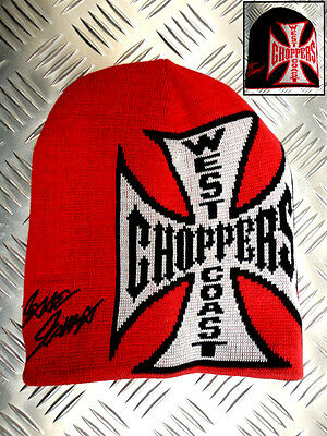 Jesse James West Coast Choppers Logo Red/Black Reversible Knitted Beanie Hat