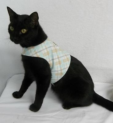 Fabric Walking Vest Harness for Cats USA Handcrafted Mint Green Plaid Unisex