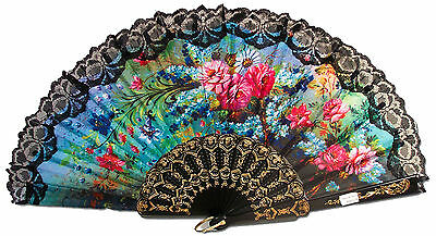 Greatlookz Rich and Vibrant Floral Folding Fan with Lace