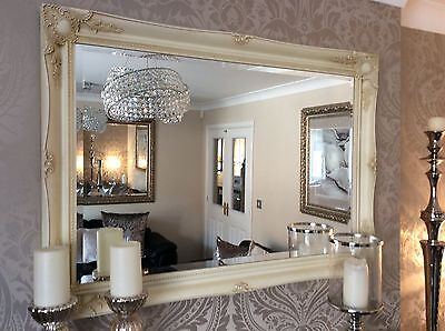 Extra Large Decorative Cream Shabby Chic Wall Mirror - 46inch x 36inch Save ££'s