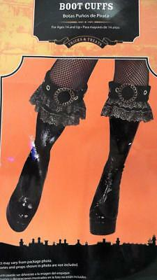 Rubie's Womens Pirate Boots Cuffs Velvet One Size Age 14+ Black Gold Lace