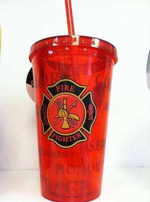 Fire Rescue Firefighter Maltese Cross Insulated Red Cup with lid & straw