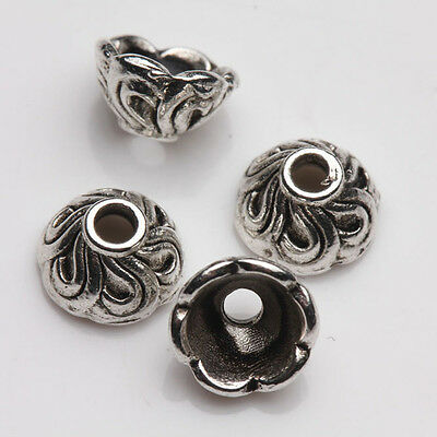 25Pcs Tibet Silver Arch Flower Spacer Bead Caps Jewelry Findings DIY 7x4mm