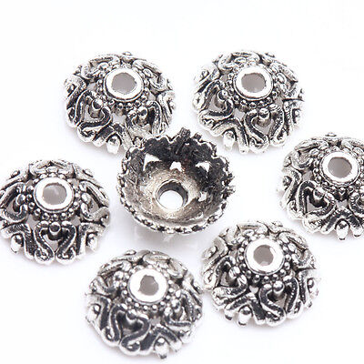 25Pcs Tibet Silver Plated Flower Spacer Bead Caps Jewelry Findings DIY 8x3mm