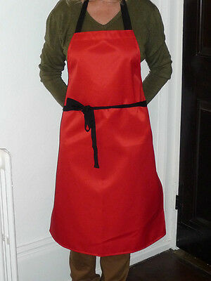 Waterproof Apron in Red Flourocoated Polyester / Cotton