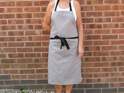 Bib Front Top Quality Bar Apron in Grey Poly / Cotton