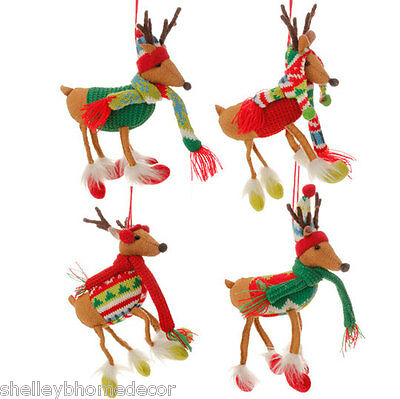 "RAZ 5.5"" Plush Reindeer Christmas Ornament set of 4 mb 3529129 NEW"