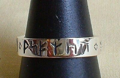 Sterling Silver Rune Ring Wicca Runic Norse Style Jewellery Pagan Odin Viking