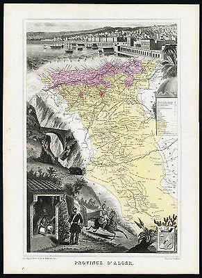 Antique Map-FRENCH AFRICA-ALGERIA-ALGIERS-PROVINCE-FRANCE-Vuillemin-Migeon-1878