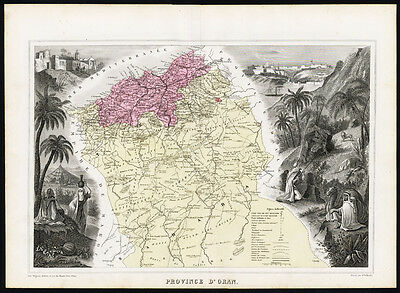 Antique Map-FRENCH AFRICA-ALGERIA-ORAN-CAMEL-PROVINCE-Vuillemin-Migeon-1878
