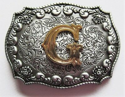 "3-D Initial Letter  "" G ""  Rodeo Cowboy Silver Gold Western Belt Buckle"