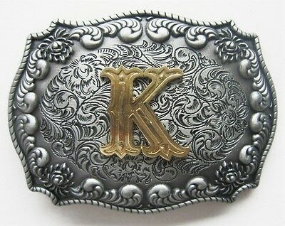 "3-D Initial Letter  "" K ""  Rodeo Cowboy Silver Gold Western Belt Buckle"