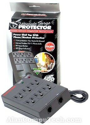 Waber 6-Outlet Wall Mount Surge Protector New SWT6NT