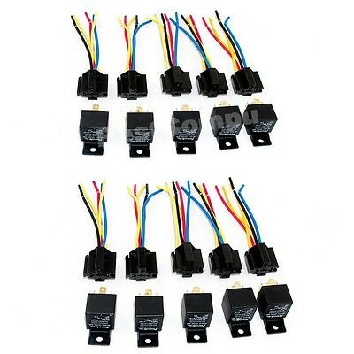 Lot10 New 12 Volt 30/40 Amp SPDT Automotive Relay with Wires & Harness Socket