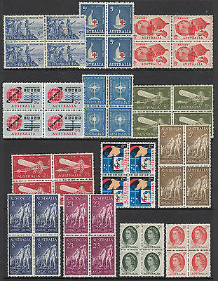 Stamps Australia 13 blocks of 4 including ANZAC, cable, airmail, etc