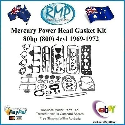 A Brand New Power Head Gasket Kit Mercury 80hp 4cyl 1969-1972 # 27-52893A72