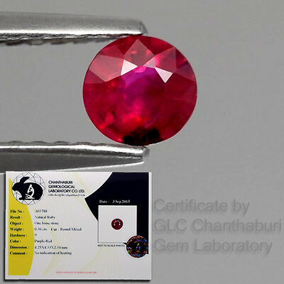 Certified 0.36ct Round Natural Unheated Rich Red Ruby Mozambique, Good Color!