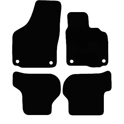 VW Scirocco 2008 - 2018 Tailored Carpet Car Floor Mats in Black 4pcs Round Clips