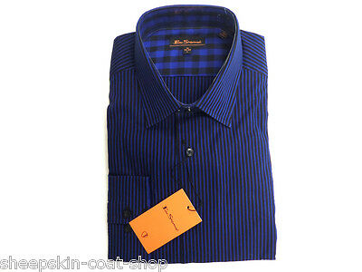 Men's Ben Sherman Mod Slim Fit Shirts Dark Blue 100% Cotton 14.5 15 15.5 16