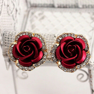 Love Fashion Women Lady Rose Flower Crystal Rhinestone Pierced Ear Stud Earrings