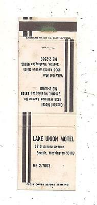 Lake Union Motel 3910 Aurora Avenue Seattle WA Matchcover 083015